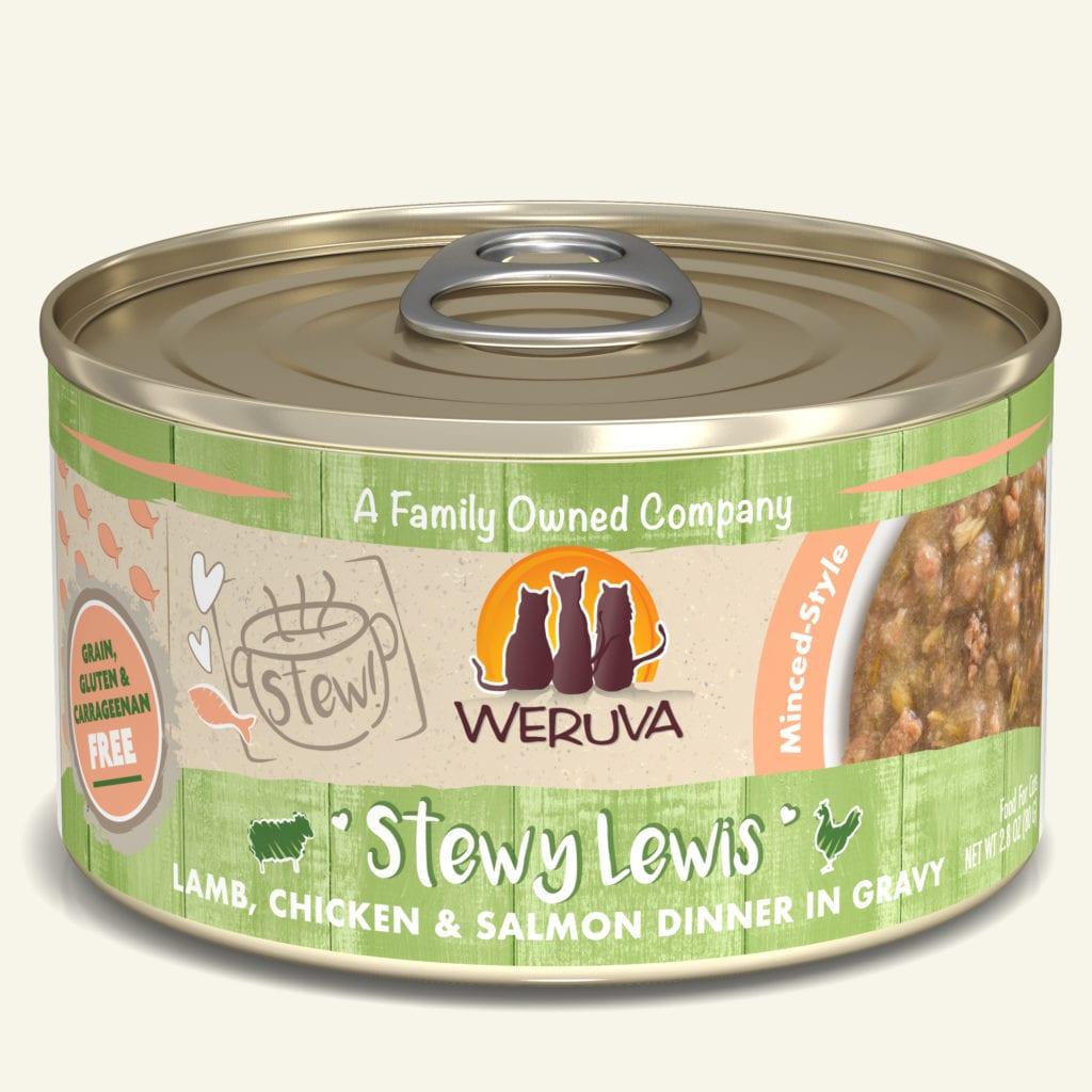 Weruva Cat Stew! Stewy Lewis Lamb, Chicken & Salmon Dinner in Gravy Wet Cat Food, 2.8-oz