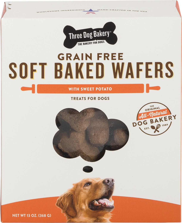 Three Dog Bakery Grain-Free Sweet Potato Soft Baked Wafers Dog Treats, 13-oz box