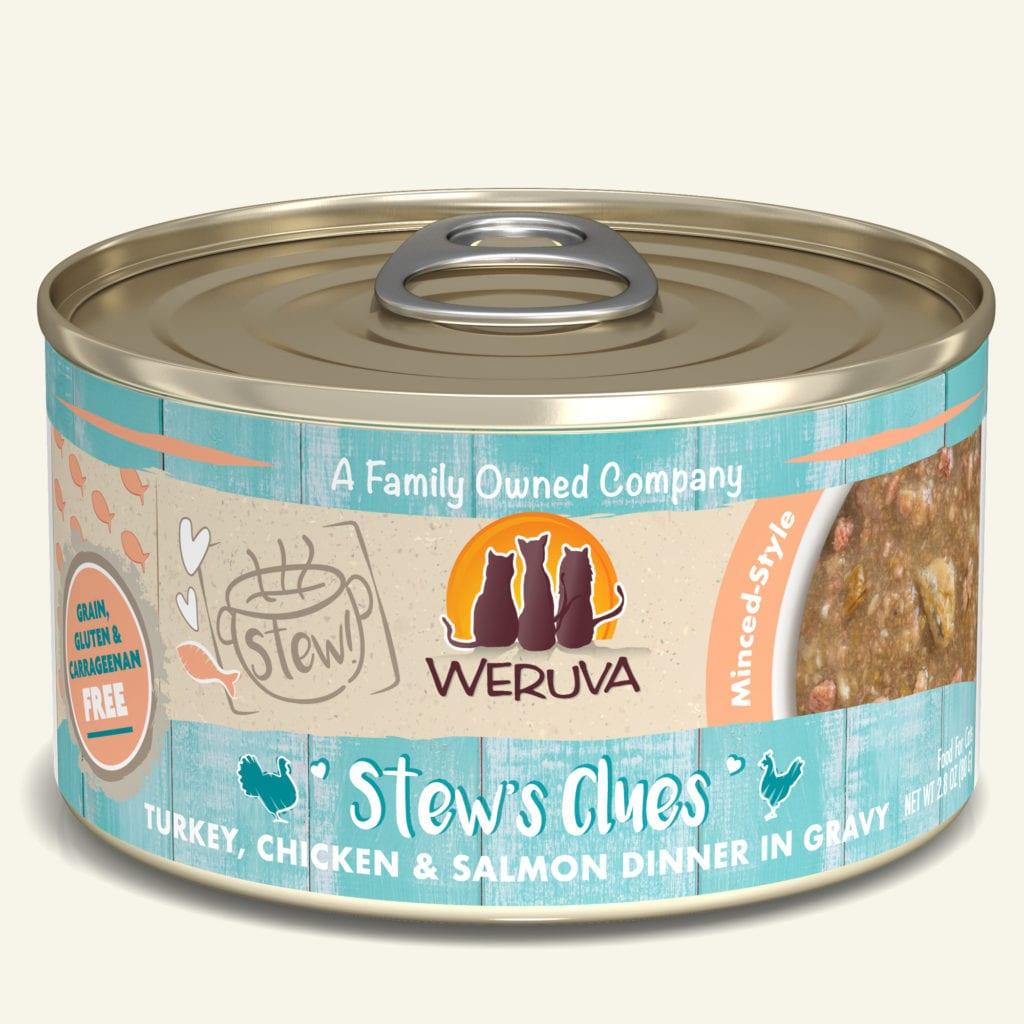 Weruva Cat Stew! Stew's Clues Turkey, Chicken & Salmon Dinner in Gravy Wet Cat Food, 5.5-oz