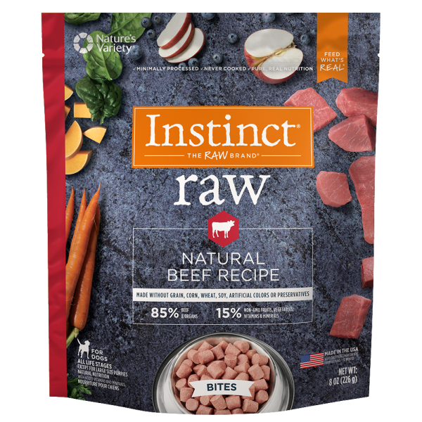Instinct by Nature's Variety Frozen Raw Bites Grain-Free Real Beef Recipe Dog Food, 8-oz