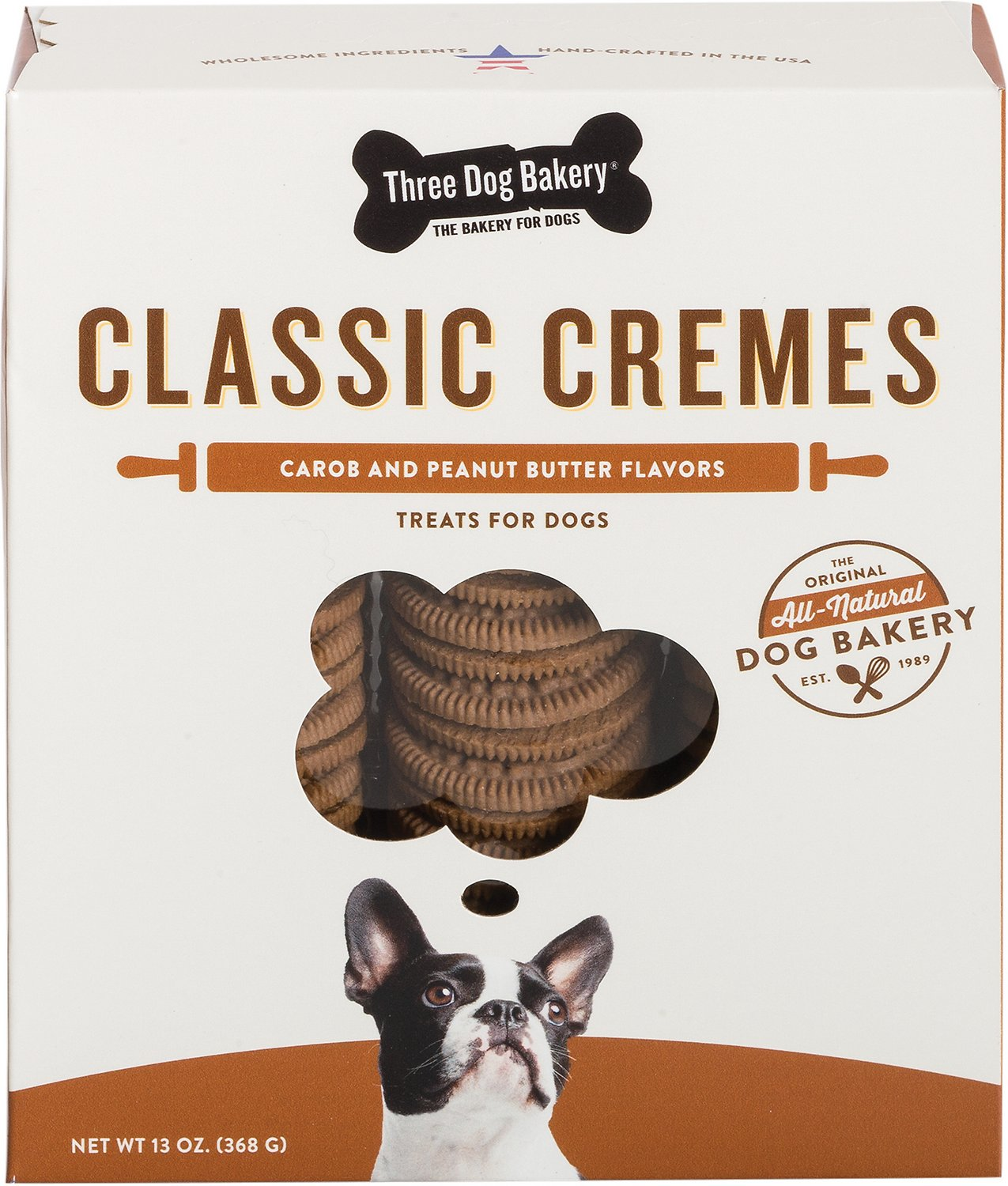 Three Dog Bakery Classic Cremes Carob Cookies with Natural Peanut Butter Filling Packaged Everyday Treats, 13-oz box