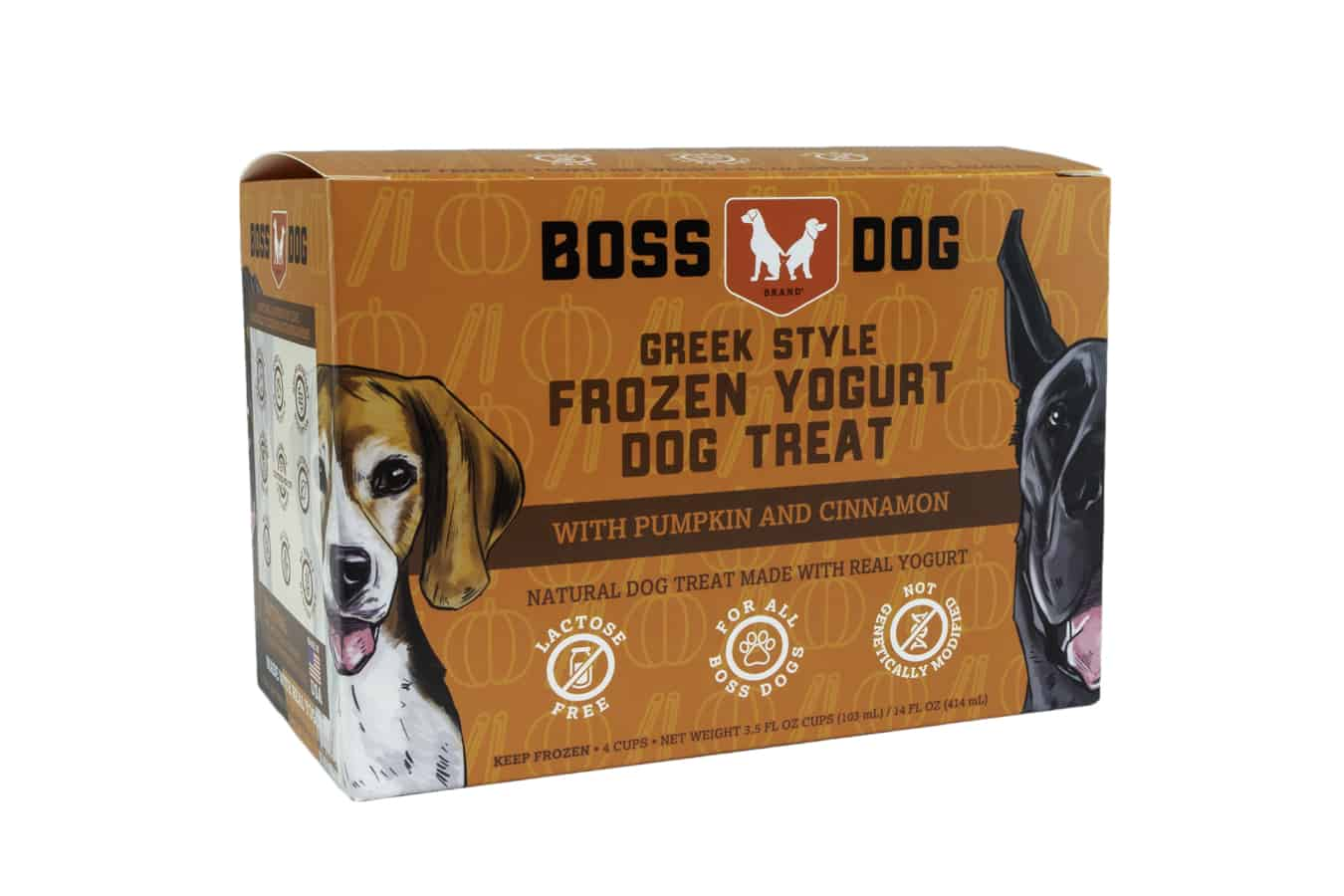 Boss Dog Pumpkin & Cinnamon Frozen Yogurt Dog Treats, 3.5-oz, 4-pack