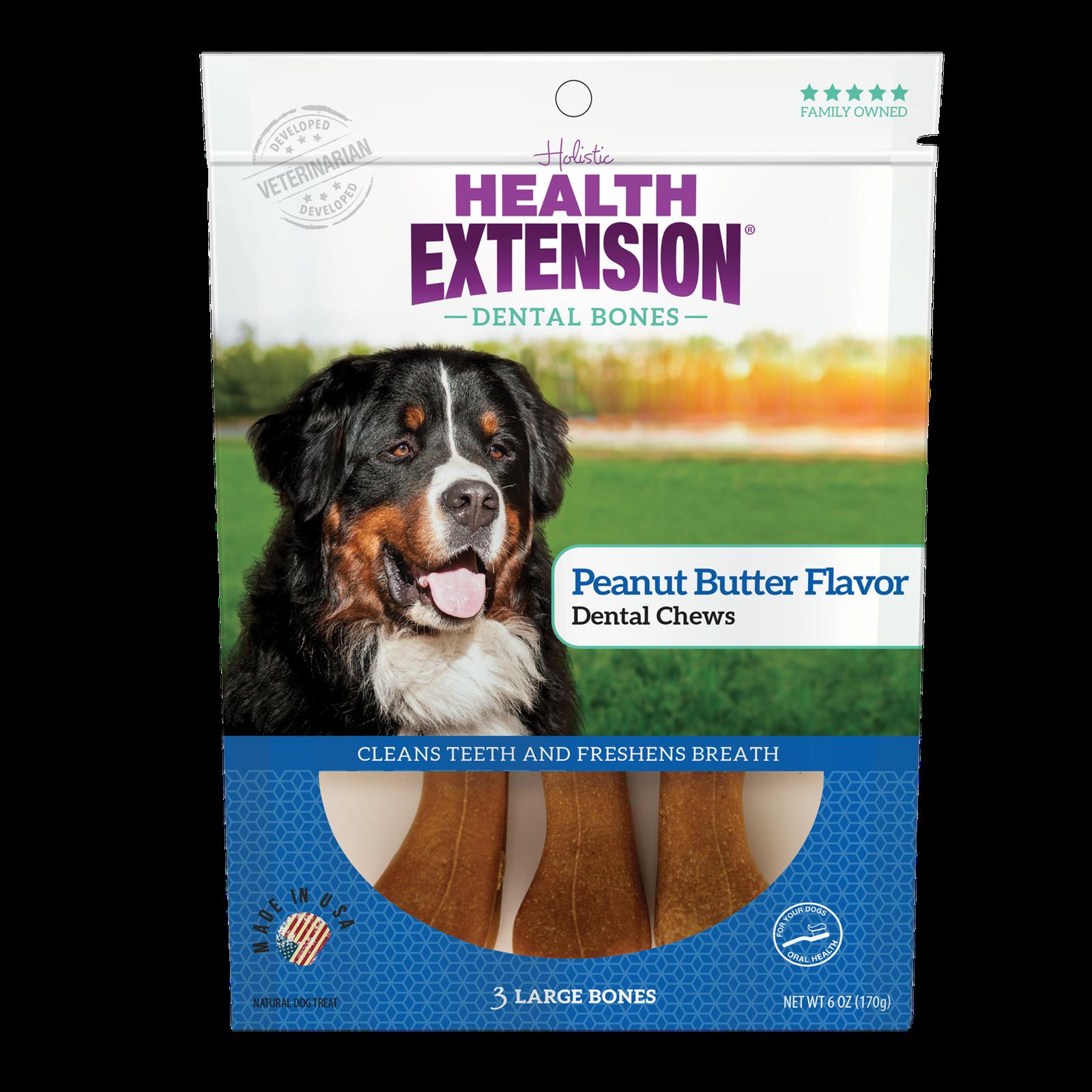 Health Extension Peanut Butter Dental Bones Dog Treats
