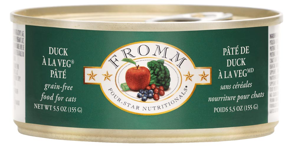 Fromm Four Star Grain Free Duck A La Veg Pate Canned Cat Food, 5.5-oz