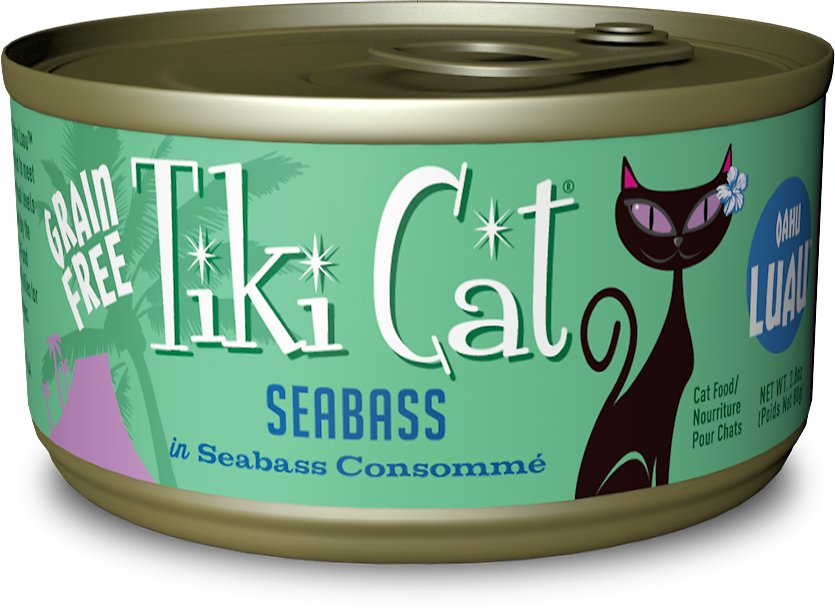 Tiki Cat Oahu Luau Seabass in Seabass Consomme Grain-Free Canned Cat Food, 2.8-oz