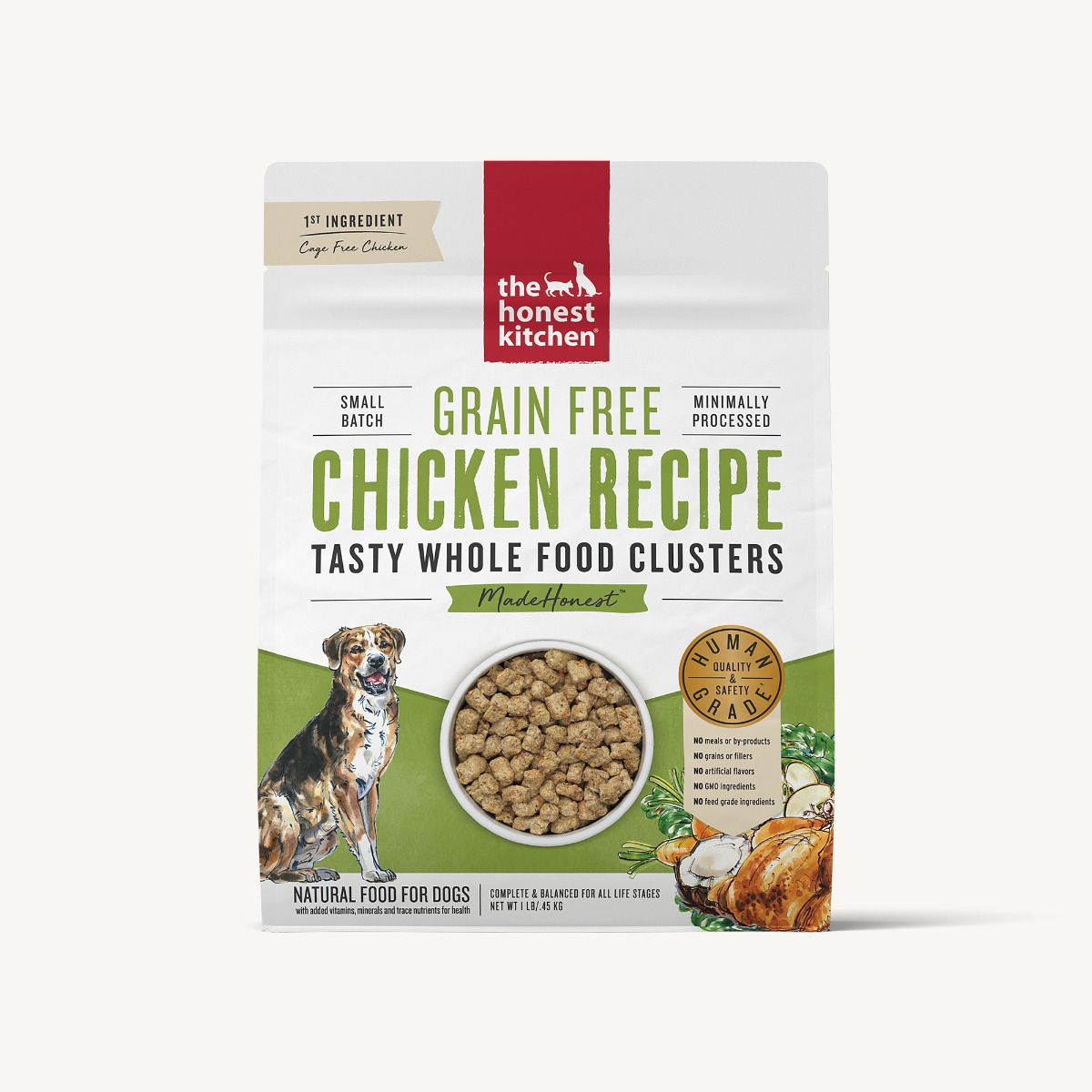 The Honest Kitchen Whole Food Clusters Grain Free Chicken Dog Food, 1-lb