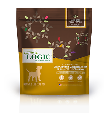 Nature's Logic Chicken Feast Patties Raw Frozen Dog Food, 3.2-oz mini patty, 3-lb bag