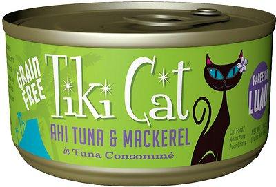 Tiki Cat Papeekeo Luau Ahi Tuna & Mackerel in Tuna Consomme Grain-Free Canned Cat Food, 2.8-oz, case of 12