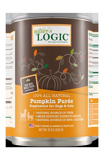 Nature's Logic Pumpkin Purée Dog & Cat Can Food Supplement, 15-oz, case of 12