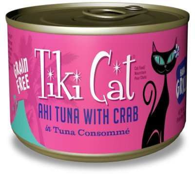 Tiki Cat Hana Grill Ahi Tuna with Crab in Tuna Consomme Grain-Free Canned Cat Food, 6-oz, case of 8