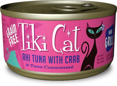 Tiki Cat Hana Grill Ahi Tuna with Crab in Tuna Consomme Grain-Free Canned Cat Food, 2.8-oz, case of 12