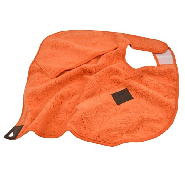 Tall Tails Towel Orange Bone Dog Cape, 20 x 20