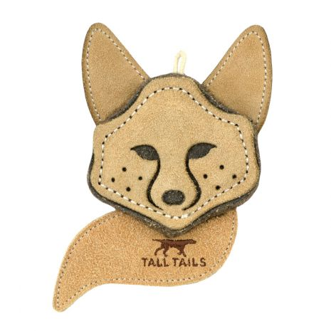 Tall Tails Natural Leather Fox Dog Toy, 4-in