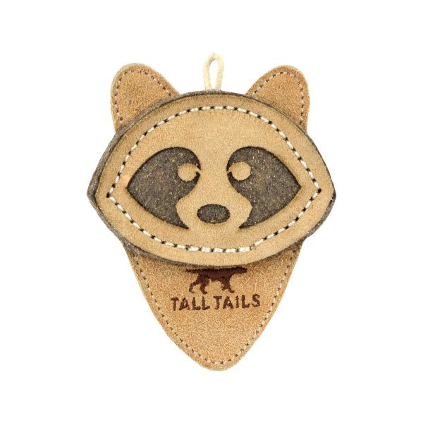 Tall Tails Natural Leather Racoon Dog Toy, 4-in