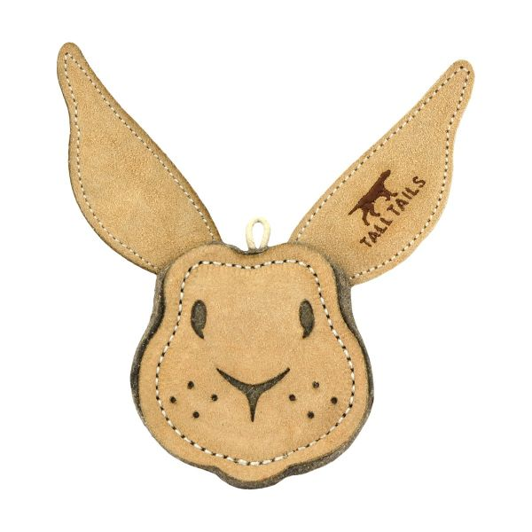 Tall Tails Natural Leather Rabbit Dog Toy, 4-in
