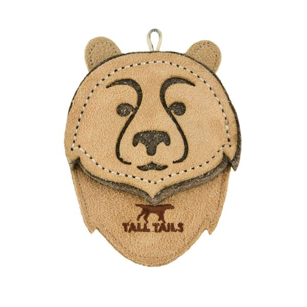 Tall Tails Natural Leather Bear Dog Toy, 4-in