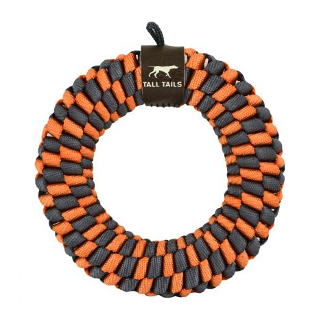 Tall Tails Braided R-ing Dog Toy, Orange, 5-in