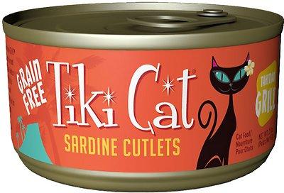 Tiki Cat Tahitian Grill Sardine Cutlets Grain-Free Canned Cat Food, 2.8-oz, case of 12