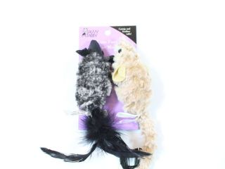 Savvy Tabby Luxe Faux Fur Mice Cat Toy Black/Light Brown