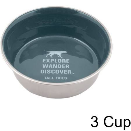 Tall Tails Dog Stainless Steel Charcoal Dog Bowl, 6-cups