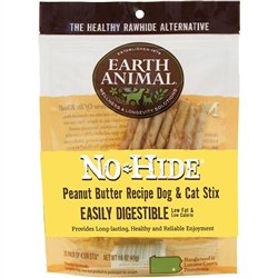 Earth Animal No-Hide Peanut Butter Stix Chew Dog Treat, 10-pk