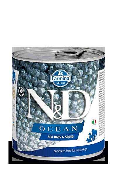 Farmina Natural & Delicious Ocean Sea Bass & Squid Can For Dogs, 10-oz