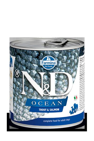 Farmina Natural & Delicious Ocean Trout & Salmon Wet Dog Food, 10-oz