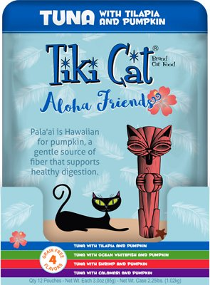 Tiki Cat Aloha Friends Variety Pack Grain-Free Wet Cat Food, 3-oz pouch, case of 12