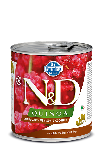 Farmina Natural & Delicious Quinoa Skin & Coat Venison & Coconut Dog Can, 10-oz