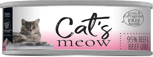 Dave's Cat Food Cat's Meow 95% Beef & Beef Liver Wet Cat Food, 5.5-oz