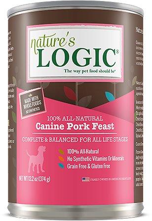 Nature's Logic Canine Pork Feast Grain-Free Canned Dog Food, 13.2-oz, case of 12