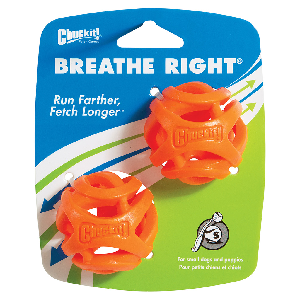 Chuckit! Breathe Right Fetch Ball 2-Pack Dog Toy, Small, 2-pack