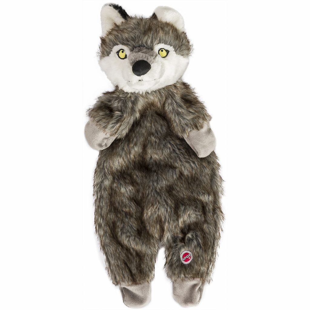 Ethical Pet Spot Furzz Wolf Dog Toy, 13.5-inch