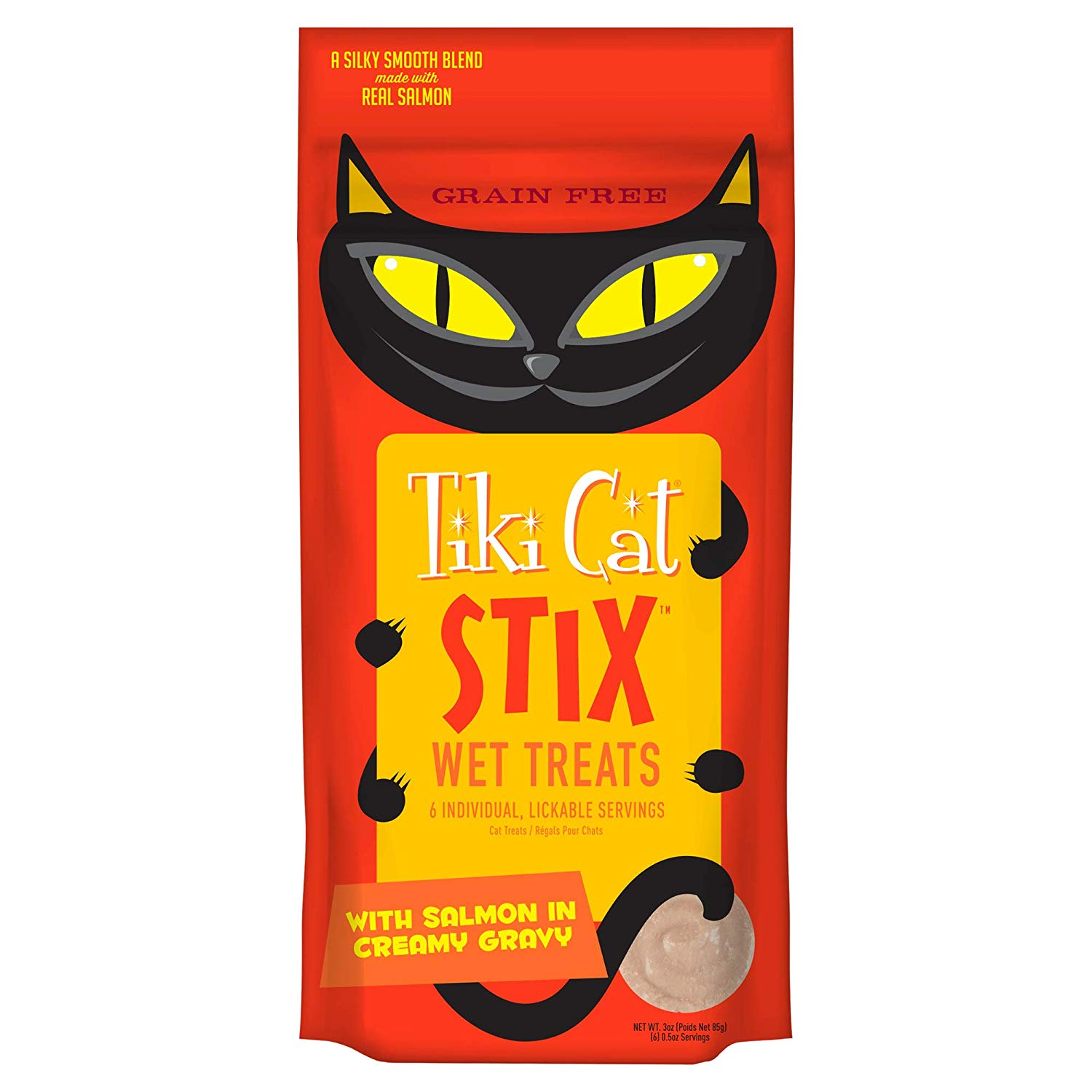 Tiki Cat Stix Salmon in Creamy Gravy Wet Cat Treats, 6-pack