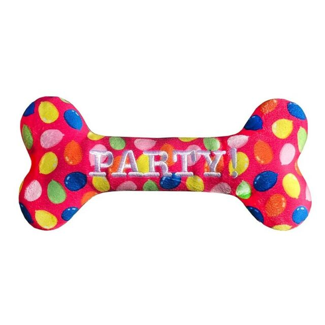 Lulubelles Power Plush Pink Party Time Bone Dog Toy, Small