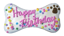 "K9 Granola Factory Happy Birthday Dog Bone Pink Dog Treats, 8"""