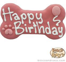 Bosco & Roxy's - Pink Birthday Collection Happy Birthday Bone
