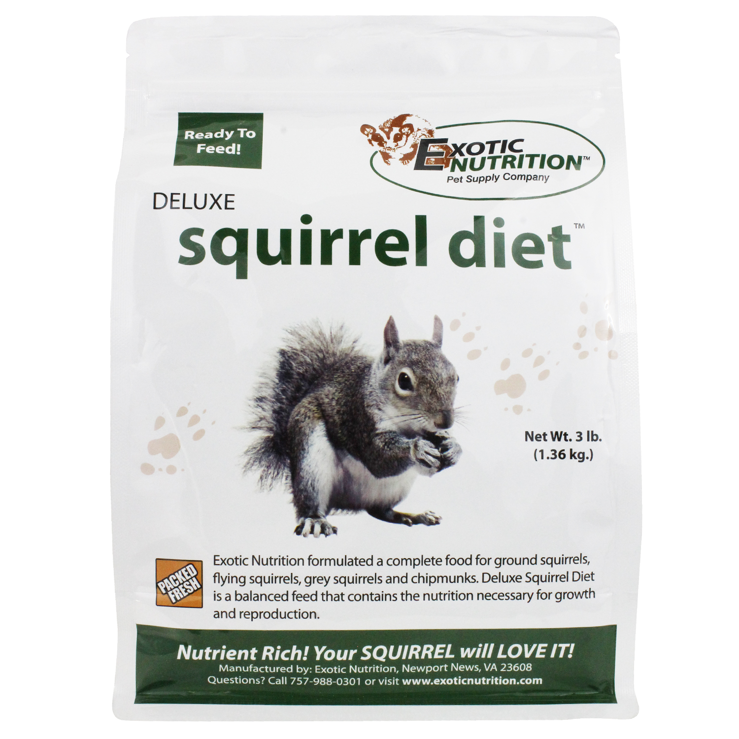 Exotic Nutrition Deluxe Squirrel Diet, 3-lbs