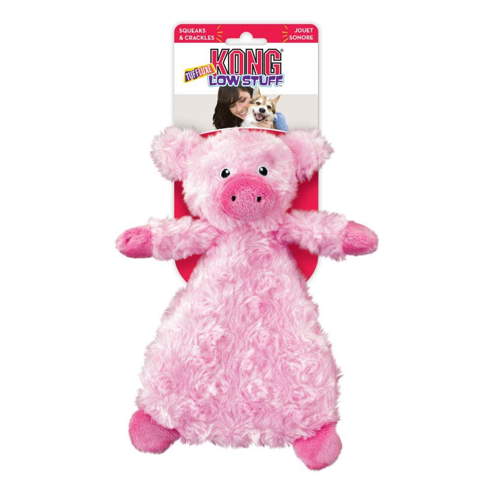 KONG Low Stuff Tuffluxe Pig Plush Dog Toy, Large