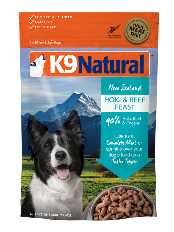 K9 Natural Hoki & Beef Feast Grain-Free Freeze-Dried Dog Food