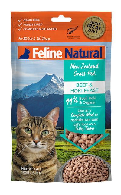 Feline Natural Beef & Hoki Feast Grain-Free Freeze-Dried Cat Food & Topper, 3.5-oz