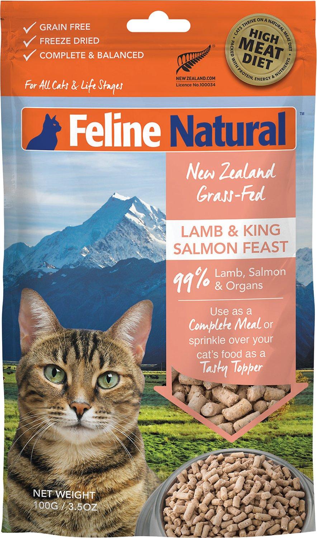 Feline Natural Lamb & King Salmon Feast Grain-Free Freeze-Dried Cat Food & Topper, 3.5-oz