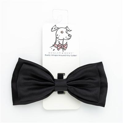 Huxley & Kent Black Satin Dog Bow Tie, Small