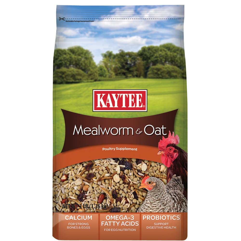 Kaytee Mealworms and Oats Poultry Supplement, 3-lbs