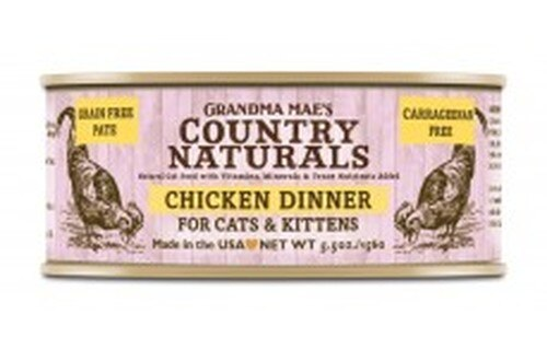 Grandma Mae's Country Naturals Grain-Free Chicken Dinner Wet Cat Food, 5.5-oz