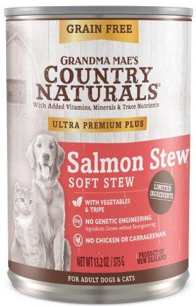 Grandma Mae's Country Naturals Grain-Free Salmon Soft Stew Wet Dog Food, 13.2-oz