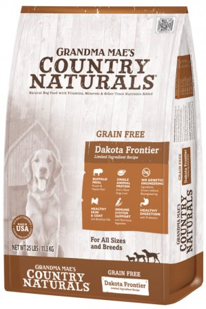 Grandma Mae's Country Naturals Grain-Free Dakota Frontier Buffalo Recipe Dry Dog Food, 4-lb