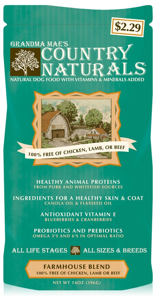 Grandma Mae's Country Naturals Farmhouse Blend Pork & Fish Dry Dog Food, 14-oz