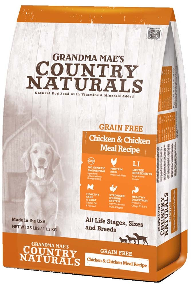 Grandma Mae's Country Naturals Grain-Free Chicken & Chicken Meal Recipe Dry Dog Food, 14-oz