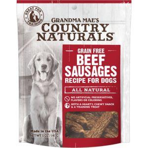 Grandma Mae's Country Naturals Grain-Free Beef Sausages Dog Treats, 5-oz
